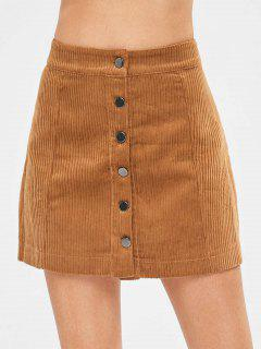 Button Through Mini Corduroy Skirt - Brown M