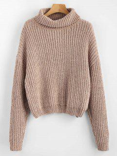 Pullover Turtleneck Chunky Sweater - Camel Brown