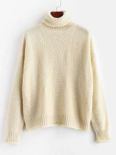 ZAFUL Turtleneck Boxy Drop Shoulder Sweater - Warm White S