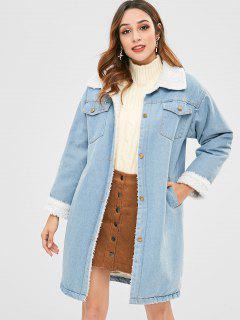 Button Up Denim Sheepskin Coat - Jeans Blue L