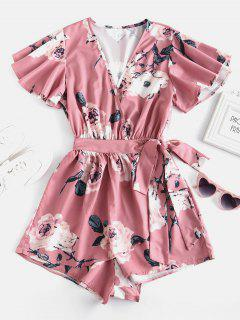 Plunging Neck Floral Print Layered Romper - Pink L