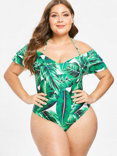 ZAFUL Palm Leaf Ruffles Plus Size Halter Swimsuit - Deep Green 1x
