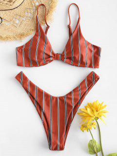 ZAFUL Striped Thong Bikini Set - Chestnut Red S