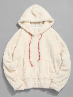 Kangaroo Pocket Plain Oversized Faux Fur Hoodie - Warm White L