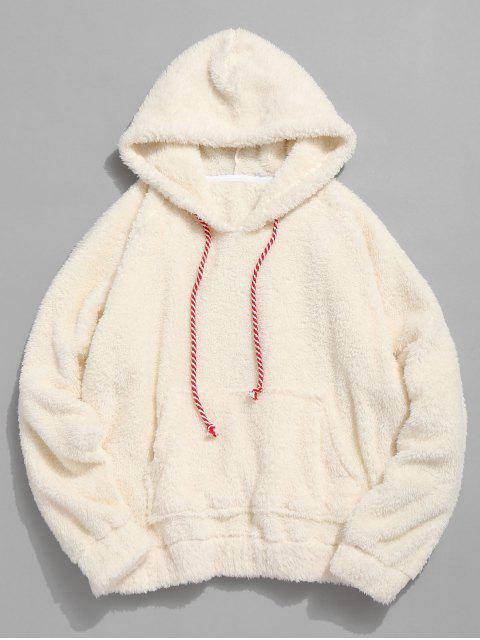 lady Kangaroo Pocket Plain Faux Fur Hoodie - WARM WHITE L Mobile