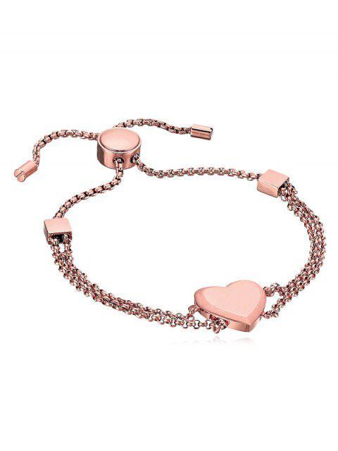 ladies Heart Decor Metal Layered Bracelet - ROSE GOLD  Mobile