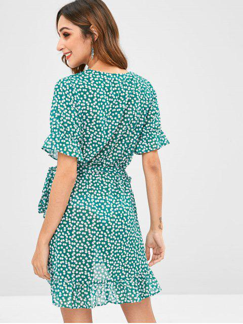 chic ZAFUL Floral Ruffles Wrap Dress - MEDIUM FOREST GREEN M Mobile