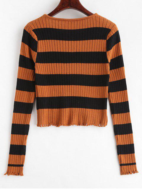 women Ripped Two Tone Striped Knitwear - LIGHT BROWN M Mobile