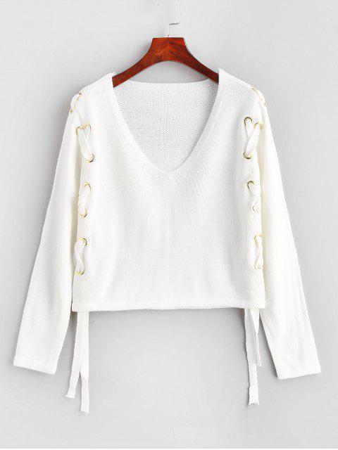 buy V Neck Lace Up Plain Sweater - WHITE M Mobile