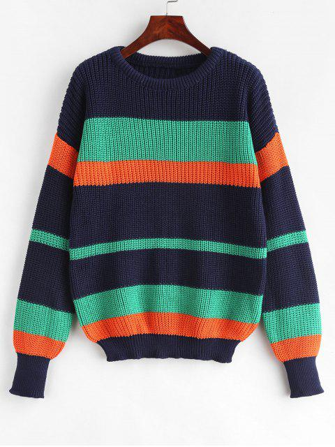chic Color Block Loose Chunky Knit Sweater - MULTI ONE SIZE Mobile