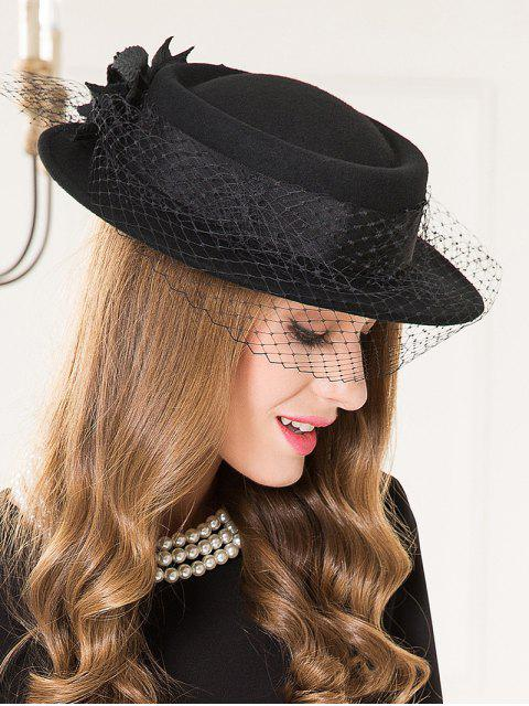 ladies Flourishing Floral Mesh Tea Party Hat - BLACK  Mobile