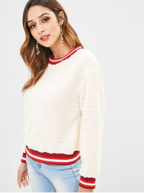fancy Fluffy Faux Fur Pullover Sweatshirt - WARM WHITE XL Mobile