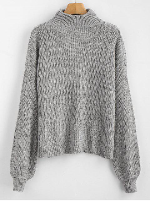 outfit ZAFUL Lace Up Plain Keyhole Sweater - GRAY ONE SIZE Mobile