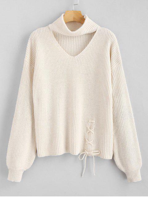 buy ZAFUL Lace Up Plain Keyhole Sweater - WARM WHITE ONE SIZE Mobile