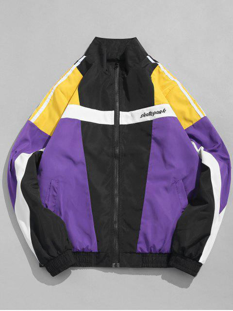 shops Contract Color Hip Hop Stand Collar Jacket - CORN YELLOW M Mobile
