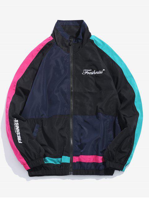unique Letter Embroidery Hip Hop Jacket - BLACK M Mobile