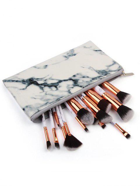 buy 15 Marble Handles Fiber Hair Makeup Brush Kit with Brush Bag - PLATINUM  Mobile