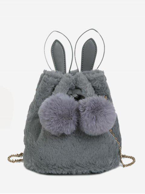 shop Fluffy Ball Design Bucket Crossbody Bag - GRAY  Mobile