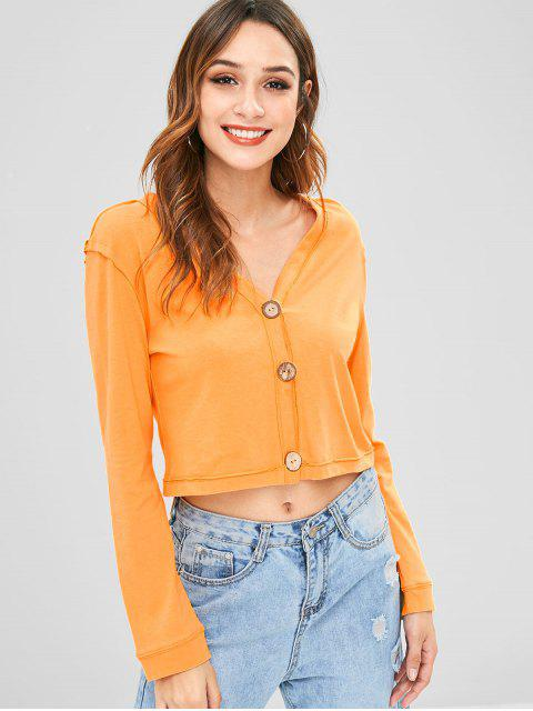 new ZAFUL V Neck Button Up Top - BEE YELLOW S Mobile