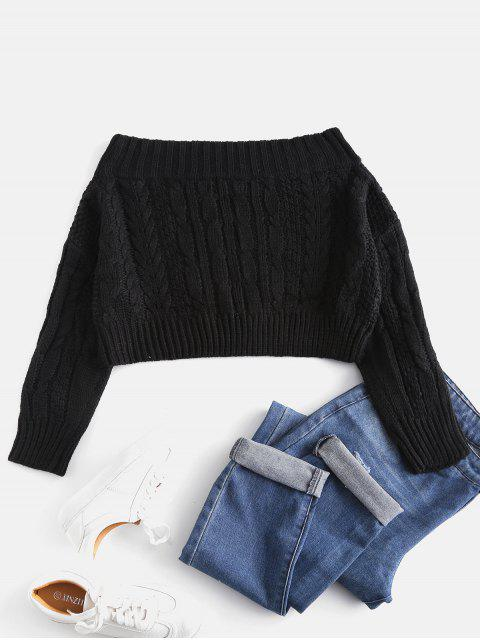 shops Chunky Cable Knit Off Shoulder Sweater - BLACK ONE SIZE Mobile