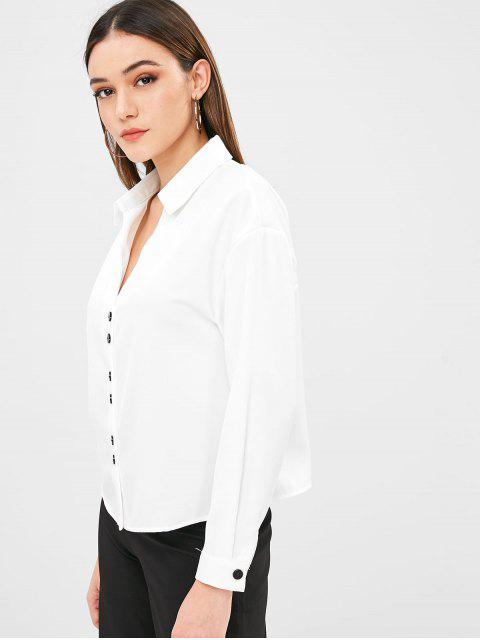 trendy Low Cut Button Fly Shirt - WHITE L Mobile