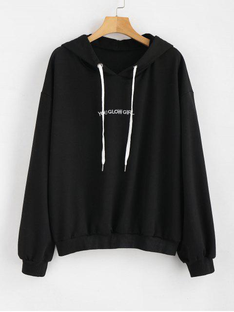 womens Letter Embroidered Plus Size Hoodie - BLACK 1X Mobile