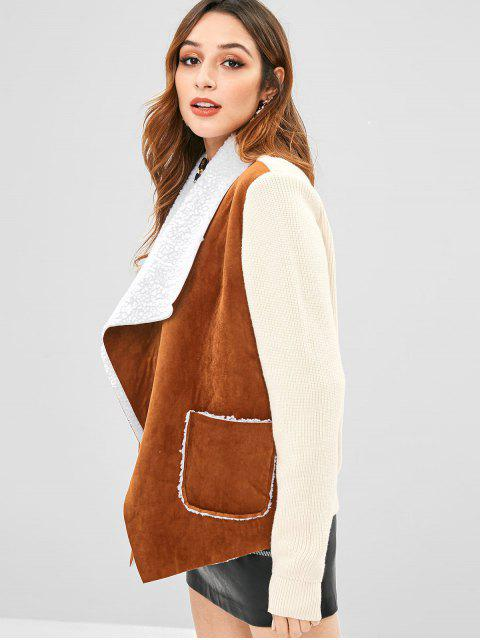 online Knitted Faux Suede Pocket Jacket - BROWN M Mobile