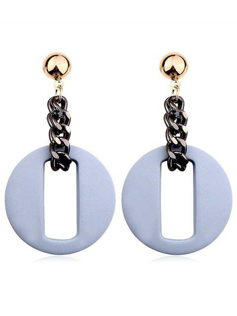 lady Hollow Our Round Shape Dangle Earrings - BLUE GRAY  Mobile