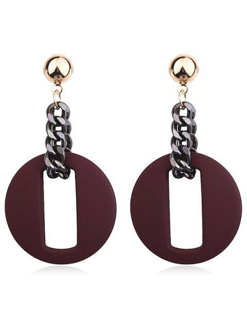 chic Hollow Our Round Shape Dangle Earrings - RED  Mobile