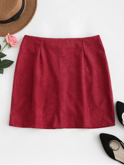 buy Button Down Suede Skirt - RED WINE M Mobile