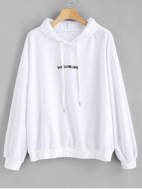 Sweat à Capuche Lettre Brodée de Grande Taille - Blanc 2X Mobile