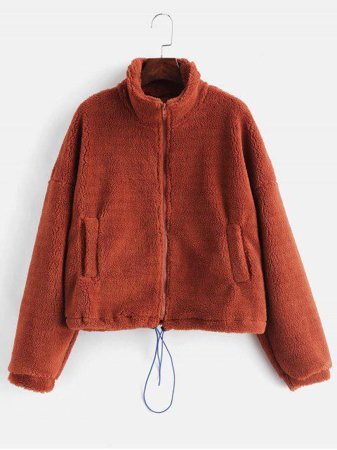 fashion ZAFUL Drawcord Waist Fluffy Winter Coat - CHOCOLATE L Mobile