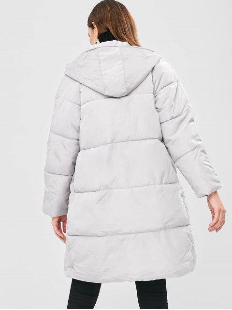 hot Hooded Quilted Puffer Winter Coat - GRAY GOOSE L Mobile