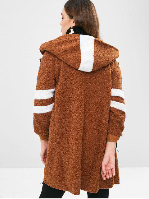 fashion Fluffy Zip Up Faux Shearling Teddy Coat - DARK GOLDENROD M Mobile