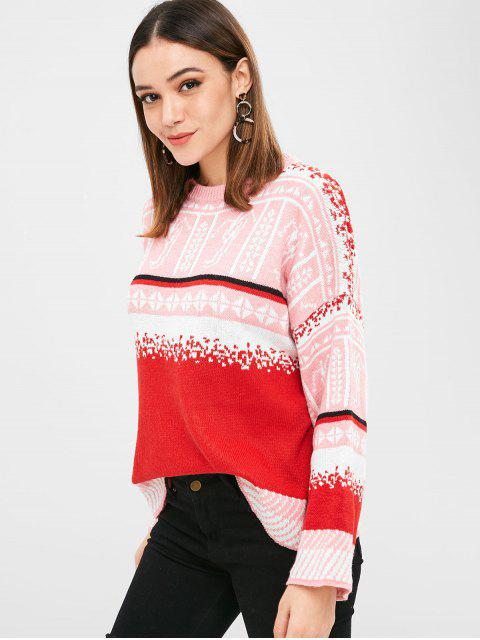 unique Christmas Graphic Crew Neck Sweater - MULTI ONE SIZE Mobile