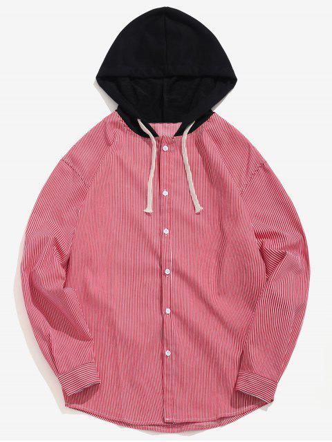 Chemise à Capuche Rayée Décontractée - Rouge S Mobile