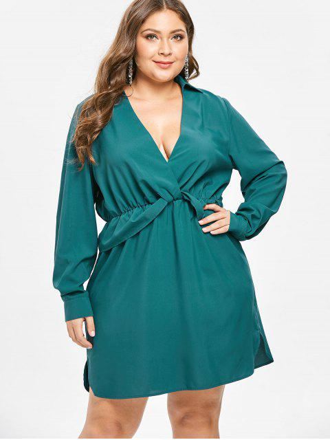 outfit ZAFUL Plunge Plus Size Long Sleeve Dress - GREENISH BLUE 2X Mobile