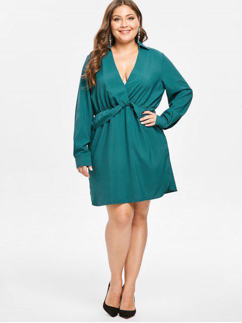 best ZAFUL Plunge Plus Size Long Sleeve Dress - GREENISH BLUE 3X Mobile
