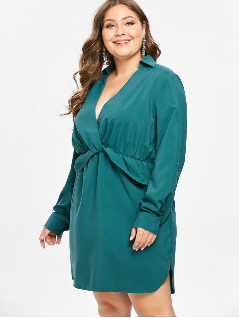 ZAFUL Robe Plongeante de Grande Taille à Manches Longues - Bleu Verdâtre 4X Mobile