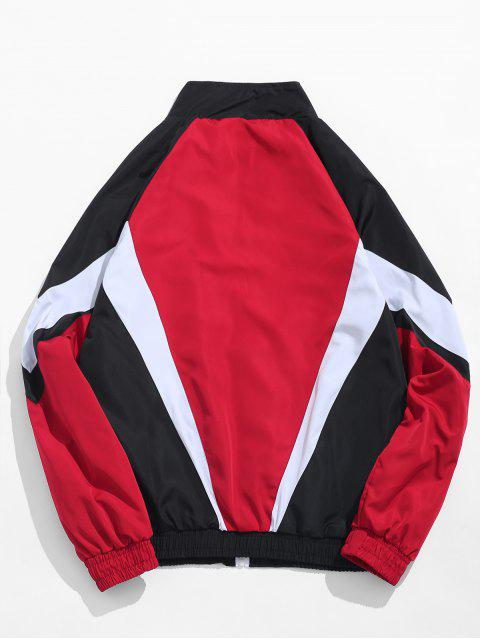 buy Zip Fly Stand Collar Hip Hop Jacket - RED M Mobile