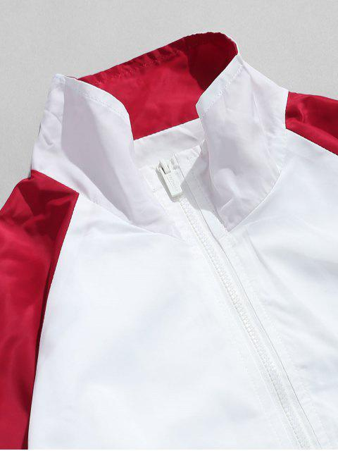 outfit Embroidered Letter Contrast Windbreaker Jacket - WHITE XL Mobile