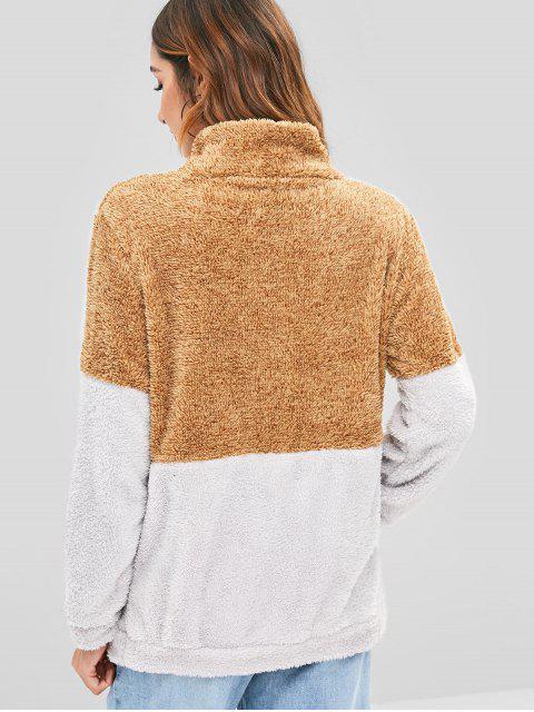 women Plush Color Block Half Zip Sweatshirt - MULTI-A M Mobile