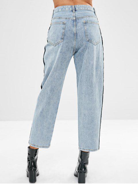 Jeans de pierna ancha con rayas - Azul Denim L Mobile