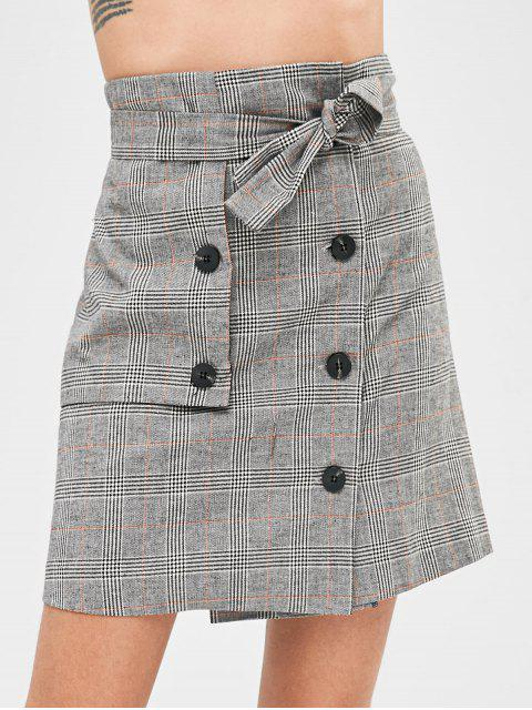 shop Button Fly Plaid Belted Skirt - MULTI M Mobile