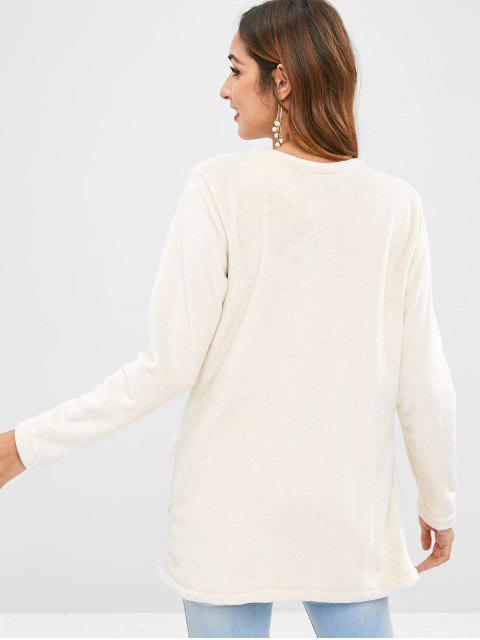 trendy Open Front Pockets Fuzzy Coat - BEIGE XL Mobile