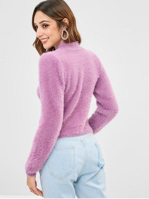 best High Neck Fluffy Sweater - MAUVE ONE SIZE Mobile