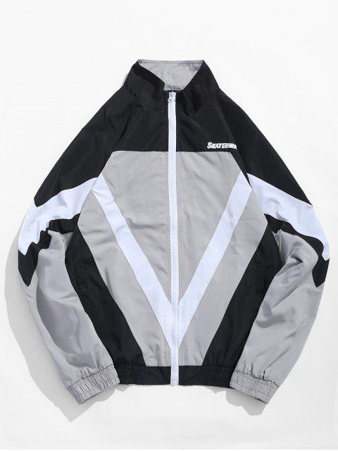 chic Zip Fly Stand Collar Hip Hop Jacket - GRAY CLOUD M Mobile