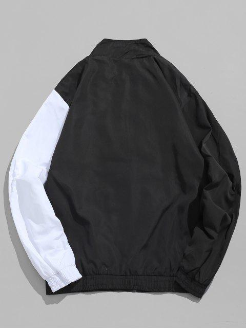 latest Zip Fly Contract Color Hip Hop Jacket - BLACK XL Mobile