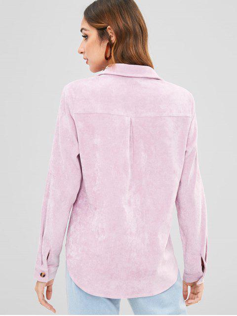 latest ZAFUL Flap Pockets Corduroy Shirt - WISTERIA PURPLE S Mobile
