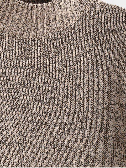 latest Mock Neck Shift Sweater Dress - TAN ONE SIZE Mobile